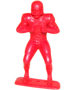 1969 Marx Plastic Toy Football Player Figure Red Lineman