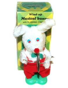 1980's Easter Unlimited Clashing Cymbals Wind-Up Musical Bunny