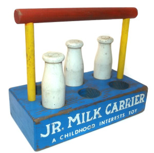 Vintage Wooden Jr. Milk Carrier w/ 3 Bottles A Childhood Interests Toy