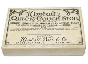 Antique Kimball's Quick Cough Stop Cold Medicine Original Cardboard Pill Box