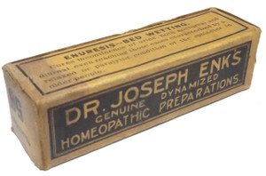 Antique Dr. Joseph Enks Homeopathic Preparation Number 56 Bed Wetting Medicine Box