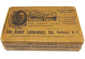 Antique Dr. Edward's Compound Dandelion Tablets Original Medicine Advertising Box