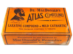 Antique Dr. MacDonald's Atlas Compound Laxative Pills Original Medicine Advertising Box