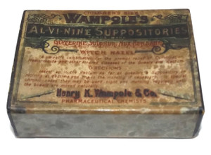 Antique Wampole's Al-Vi-Nine Children Size Suppositories Original Medicine Advertising Box