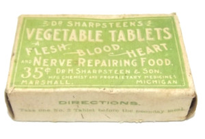 Antique Dr. Sharpsteen's Vegetable Tablets Original Quack Medicine Advertising Box