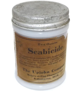 Vintage Upjohn Company Scabicide Ointment Salve Jar with Label and Lid