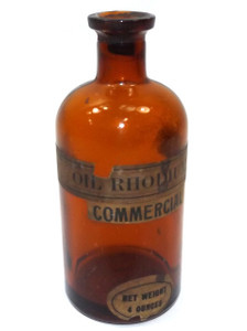 Antique Amber Glass Cork Top Rhodium Oil Apothecary Medicine Bottle with Original Labels