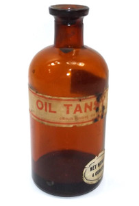 Antique Amber Glass Cork Top Tansy Oil Apothecary Poison Medicine Bottle with Original Labels