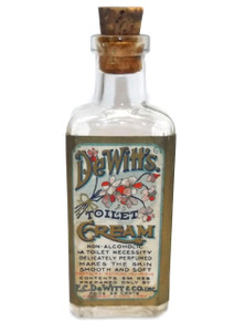 Antique NOS DeWitt's Toilet Cream Glass Cork Top Lotion Medicine Bottle with Label & Contents
