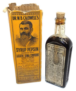 Antique NOS Dr. W.B. Caldwell's Syrup Pepsin Laxative Medicine Bottle and Original Box