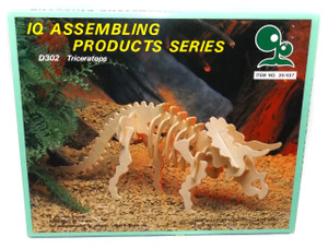 Vintage NOS IQ Assembling Products D301 Triceratops 3D Wood Dinosaur Puzzle Toy Model Kit