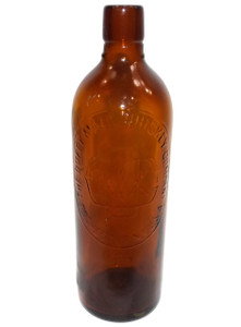 Antique Duffy Malt Whiskey Company Embossed Amber Glass Bottle - Rochester, NY