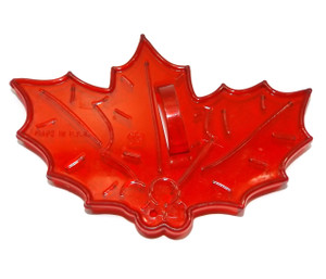 Vintage HRM Semi-Transparent Red Plastic Holly Leaves & Berries Christmas Cookie Cutter