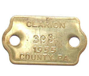 1955 Brass Dog License Tag - Clarion County, PA