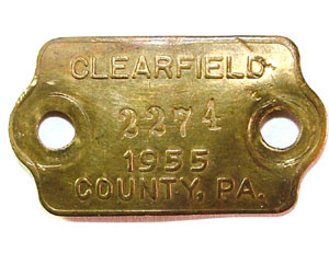 1955 Brass Dog License Tag - Clearfield Co., PA