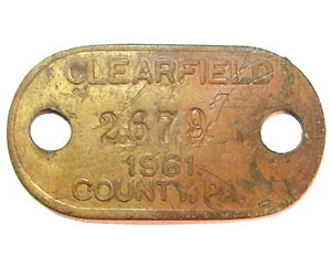 1961 Brass Dog License Tag - Clearfield Co., PA