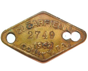 1962 Brass Dog License Tag - Clearfield Co., PA
