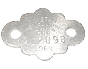 1969 Aluminum Dog License Collar Tag - Albany, New York State #A12098