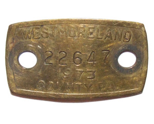 1973 Brass Dog License Tag - Westmoreland County, PA