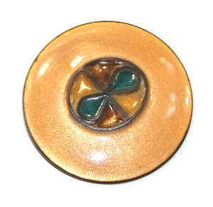 Vintage Mid-Century Round Enameled Copper Abstract Cloisonne Brooch Pin