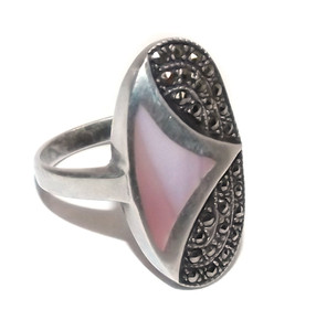 Vintage Sterling Silver Ring with Marcasite and Shell Inlay - Size 9