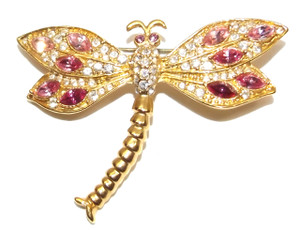 Vintage Gold Tone Dragonfly Brooch with Clear and Amethyst Pave' Rhinestone Wings