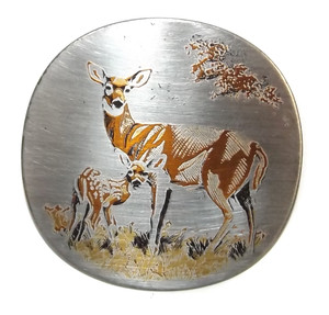 Vintage Reed & Barton Damascene Mother's Day Deer and Fawn Brooch Pendant