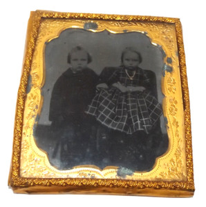 Antique 1/6 Plate Ambrotype Photograph Two Cute Victorian Children Tinted Jewelry