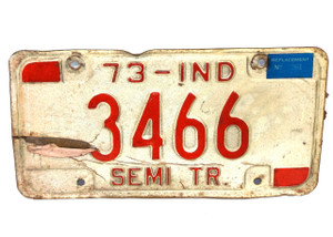 1973 Indiana Semi Truck License Plate - Tag #3466