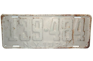 Antique 1924 Long New York State License Plate  - Tag #139-484