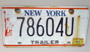 1992 Vintage New York State Trailer License Plate - Tag #78604U