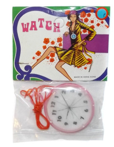 Vintage NOS 1960's Pink Plastic Pocket Watch Toy w/ Lenticular Dial