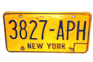 Vintage New York Empire State License Plate - Tag #3827-APH