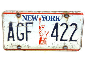 Vintage New York State License Plate  - Tag #AGF-422