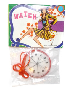 Vintage NOS 1960's Red Plastic Pocket Watch Grocery Store Toy w/ Lenticular Dial