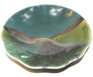 Vintage Art Pottery Bowl with Abstract Mountain Scene in Glaze