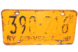 1958 New York Empire State Commercial License Plate - Tag #398-216