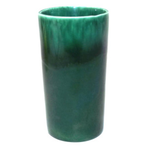 Vintage Unsigned Mid-Century Green Drip Art Pottery Cylinder Vase