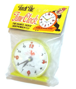 Vintage NOS 1960's Yellow Plastic Teach the Time Clock Grocery Store Toy