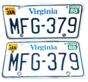 1988 Vintage Virginia License Plate Matching Pair Set - Tag #MFG-379