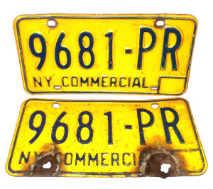 1973-80 Matching Pair New York State Commercial License Plates - Tag #9681-PR