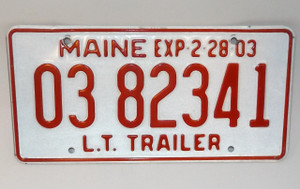 2003 Vintage Maine State L.T. Trailer License Plate - Tag #0382341