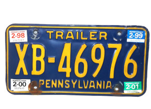 1998 Vintage Pennsylvania State Trailer License Plate  - Tag #XB-46976