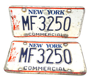 1986-00 Matching Pair Set New York State Commercial License Plates - Tag #MF3250