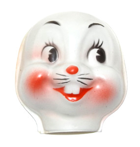 """Vintage NOS Celluloid Plastic Bunny Rabbit Baby Doll Face Head for Cloth Doll or Crafting - 3"""""""