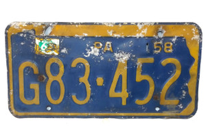 1958 Vintage Pennsylvania State License Plate  - Tag #G83-452