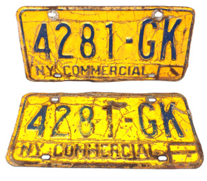 1973-80 Matching Pair Set New York State Commercial License Plates - Tag #4281-GK