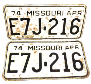 1974 Vintage Missouri License Plate Matching Pair Set - Tag #E7J-216