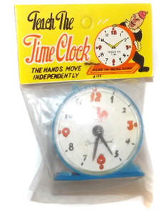 Vintage NOS 1960's Blue Plastic Teach the Time Clock Grocery Store Toy