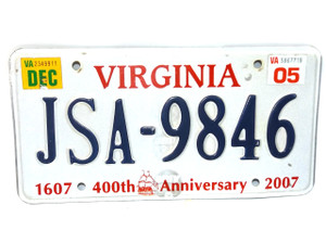 2005 Vintage Virginia State 400th Anniversary License Plate  - Tag #JSA-9846